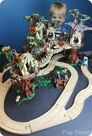 Make Wooden Toy Train Track by Lego Ewok Village Wooden Train Layout Play Trains