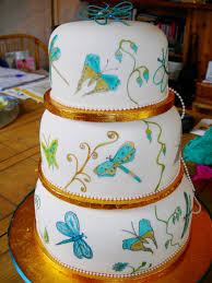Hand Painted Butterfly Wedding Cake