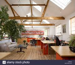 loft office roof lights trusses in double height room stock photo