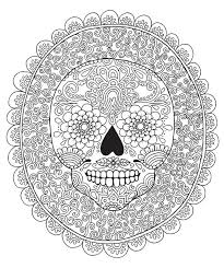 candy skull colouring page coloring design therapy detailed