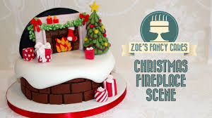 christmas fireplace backdrop cake decorating snow theme how to