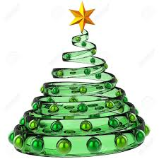modern tree made from green glass with metallic baubles