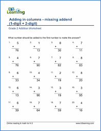 grade 2 math worksheet addition adding a 1 digit number and a 2