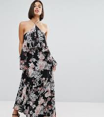 boohoo floral cold shoulder ruffle maxi dress in black lyst