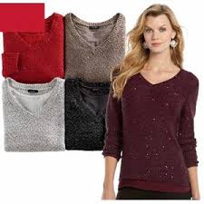 kohl s deal apt 9 v neck sequined sweater for misses and