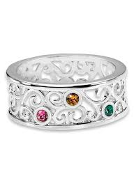 mothers birthstone rings s filigree birthstone ring sterling silver amerimark