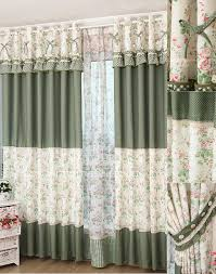 coverings curtains of floral and polka dot printed patterns with lace