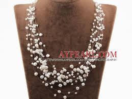 multi layered beaded necklace images Multi layer white freshwater pearl bridal necklace jpg