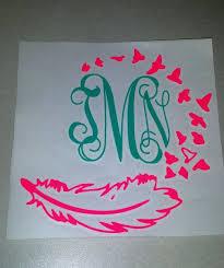 monogram stickers initial monogram feather decal monogram sticker waterproof vinyl