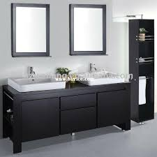 Double Bathroom White Sinks Espresso Cabinet Black Framed - Black bathroom vanity and sink