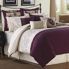 Plum Bed Set Ridgewood Plum Ivory And Taupe 6 Comforter Set For The