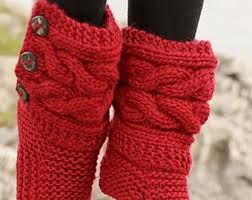 womens knit boots s slippers etsy