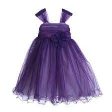 purple rattail edge tulle flower dress pretty princess 117nf