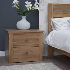 Contemporary Oak Bedroom Furniture Kingston Solid Oak Bedroom Furniture Two Drawer Wide Bedside