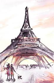 france sketches walking to the eiffel tower painting by irina