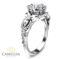 floral engagement rings floral diamond engagement ring in 14k white gold diamond flower