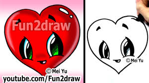 how to draw a heart easy u0026 cute popular cartoon drawing video
