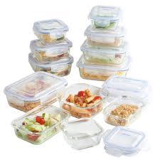 vonshef 12 piece glass container tupperware food storage set with lids