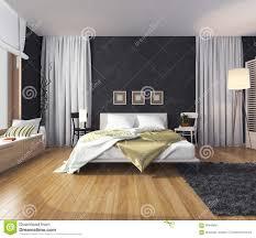 Schlafzimmerm El Betten Moderner Innenraum Eines Schlafzimmers Mit Einer Wand Der Dunklen