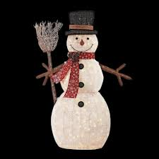 home accents 72 in led lighted pvc cotton string snowman