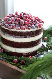 red velvet layer cake with cream cheese frosting and sugared