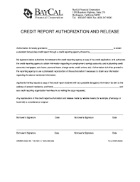 Credit Release Form Fillable Credit Release Form Baycal Financial Fax Email