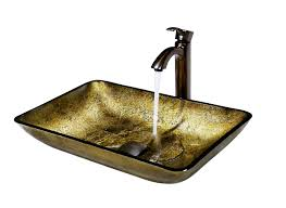 Bronze Faucets For Bathroom by Bathroom Vigo Rectangular Copper Glass Rectangular Vessel Sink