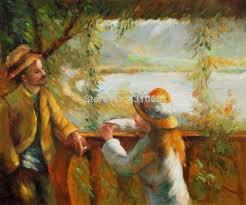 oil painting on canvas portrait hand painted landscape paintingl near the lake ii pierre auguste renoir