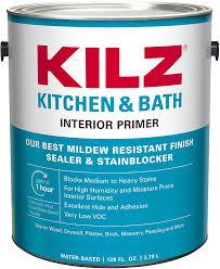 what is the best finish for white kitchen cabinets kilz l204511 kitchen bath interior primer sealer stainblocker with mildew resistant finish white 1 gallon 1 gallon 4 l