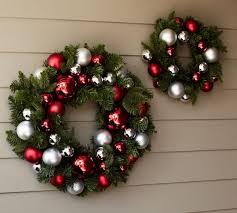 indoor outdoor ornament pine wreath silver pottery barn