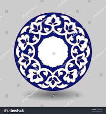 blue white porcelain uzbek traditional pattern stock vector