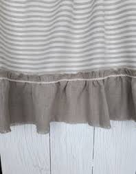 Shabby Chic Valance by Linen Striped Curtains Linen Valance Burlap Ruffles Shabby Chic