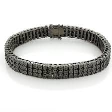 black diamond gold bracelet images Mens 3 row black diamond bracelet 0 62ct in sterling silver jpg