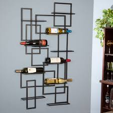 mounted black metal wine racks with rectangular black wine bottle