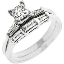 baguette wedding band diamond engagement ring wedding band bridal set baguette cut white