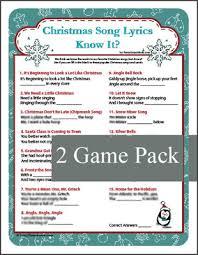 printable lyrics christmas song lyrics know it game christmas carol game