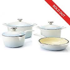 cast iron enamel cookware cook s tradition 7 piece stick resistant enameled cast iron