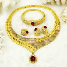new fashion gold necklace images 2018 new fashion dubai glamour women gold jewelry set red big jpg