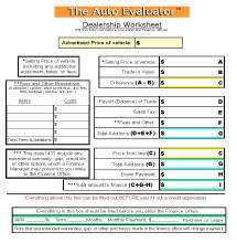 dealer worksheet and checklist