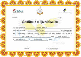 certificate of participation format free certificate templates