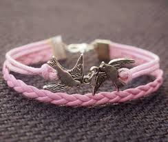 bracelet pink images Jewels bracelets silver birds bracelet pink bracelet leather jpg