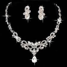 bride necklace images Bridal wedding bride party rhinestone necklace earring pendant jpg