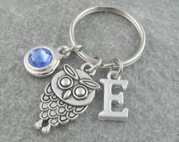 personalized birthstone keychains owl keychain etsy