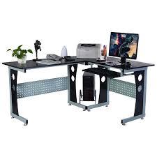 How To Assemble A Computer Desk Costway Wood L Shape Corner Computer Desk Pc Table Workstation