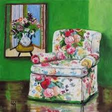 red and purple floral chair polly shindler paint pinterest