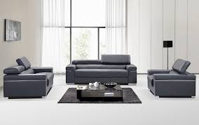 Contemporary Grey Italian Leather Sofa Set With Adjustable - Contemporary leather sofas design