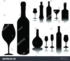 wine silhouette wine glass bottle silhouettes shadows vector stock vector