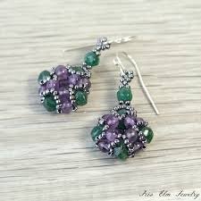 emerald green earrings purple amethyst emerald green aventurine earrings iris elm