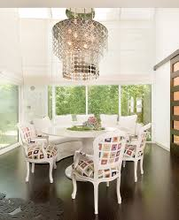 half round accent table dining room eclectic with roman shades