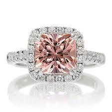 1 5 carat cushion cut morganite halo engagement ring for women on